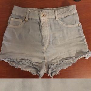 Cheeky Stretchy Frayed Hem Light Wash Shorts